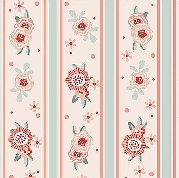 Tecido Tricoline de Listras Floral Rosa - Coleção Florisbella - Preço de 50 cm x 140 cm