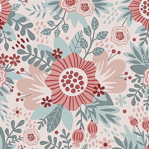 Tecido Tricoline de Floral Rosa - Coleção Florisbella - Preço de 50 cm x 140 cm