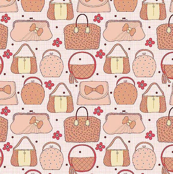 Tecido Tricoline de Bolsas Rosa - Coleção Fashion - Preço de 50 cm x 140 cm
