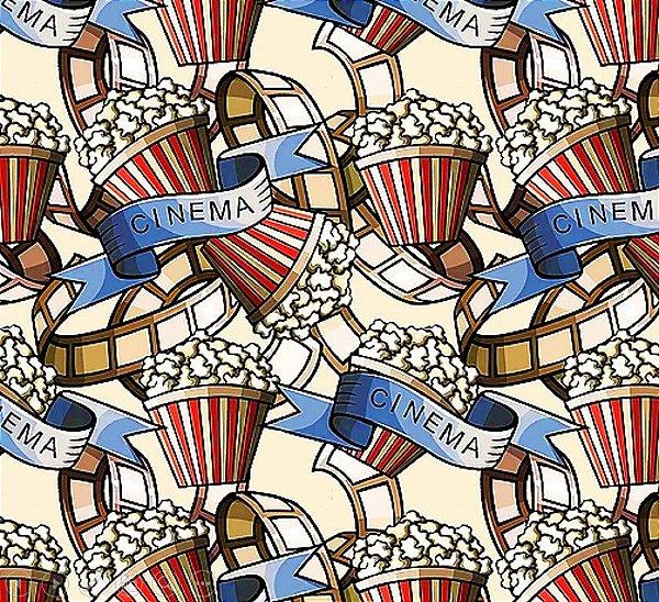 Tecido Digital Filmes e Pipocas - Fundo Creme - Coleção Cinema - Preço de 50 cm x 140 cm