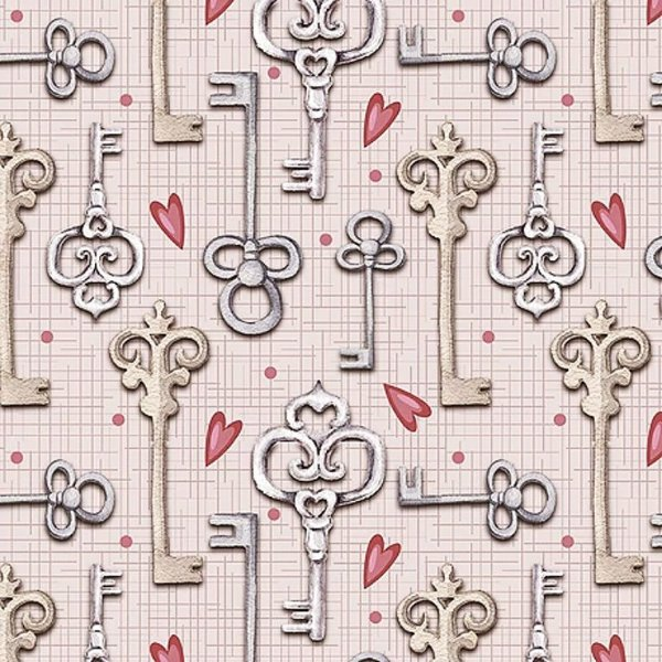Tecido Digital Chaves - Fundo Rosa - Coleção Chaves e Cadeados - Preço de 50 cm x 140 cm
