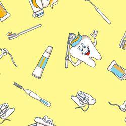 Tecido Tricoline Dentes e Higiene Bucal - Fundo Amarelo - Coleção Doctor - Preço de 50 cm x 150 cm