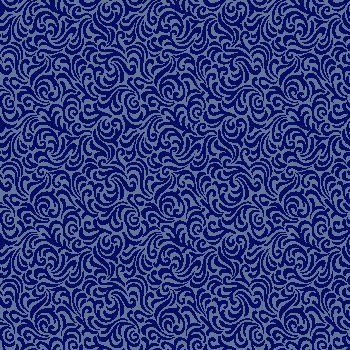 Tecido Tricoline Estampa Arabesco Azul Marinho - Coleção Neutro - Preço de 50 cm X 150 cm