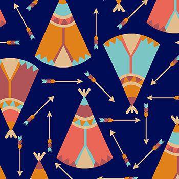 Tecido Tricoline Estampa Cabanas - Fundo Azul - Coleção Cowboys e Índios - Preço de 50 cm X 150 cm