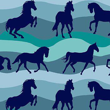 Tecido Tricoline Estampa Cavalos - Tons de Azul - Coleção Cowboys e Índios - Preço de 50 cm X 150 cm