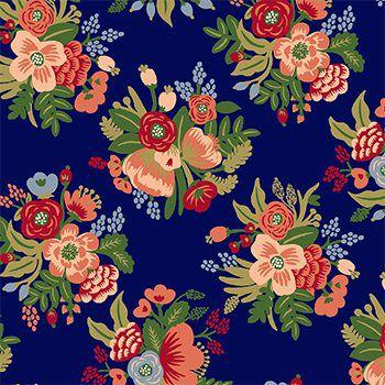 Tecido Tricoline Floral Pequeno - Fundo Azul - Coleção Botânica - Preço de 50 cm x 150 cm