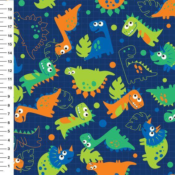Tecido Digital Dinossauros - Fundo Azul Marinho - Preço de 50 cm x 150 cm