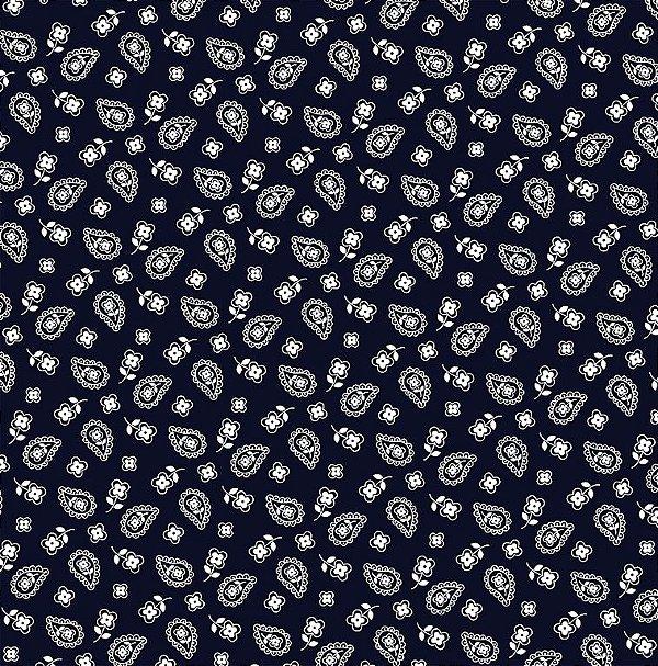 Tecido Tricoline Mini Cashmere Azul Marinho - Preço de 50 cm x 150 cm