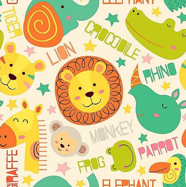 8355e33adc7780 Tecido Tricoline Rostinhos da Selva: Elefante, Leão, Rinoceronte, Macaco,  Hipopótamo, Sapo, Tigre, Girafa, Tucano e Jacaré - Fundo Creme - Preço ...