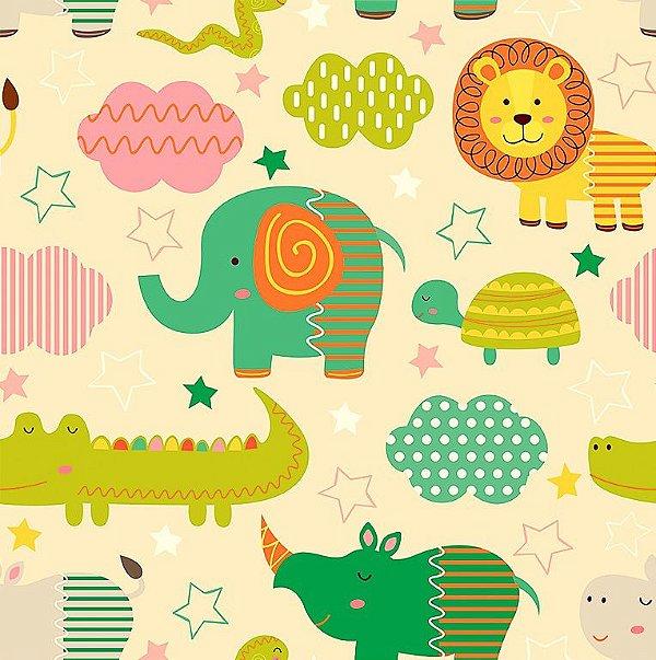 Tecido Tricoline Selva Colorida: Leão, Tartaruga, Rinoceronte, Hipopótamo, Elefante, Jacaré e Cobra - Fundo Creme - Preço de 50 cm x 150 cm