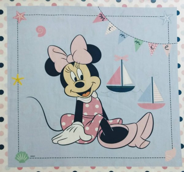 Tecido Digital Painel Minnie Navy - Fundo Rosa e Azul - Coleção Disney - Preço de 40 cm x 40 cm
