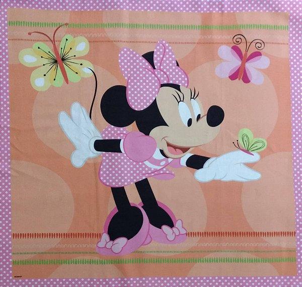 Tecido Digital Painel Minnie e Borboletas - Fundo Rosa e Salmão - Coleção Disney - Preço de 40 cm x 40 cm