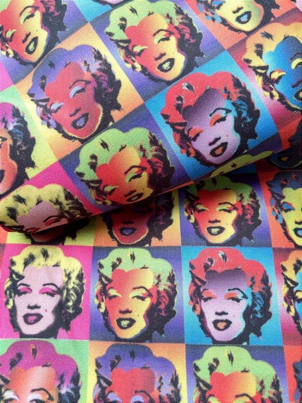 Tecido Estampa Exclusiva de Personagens - Marilyn Monroe - 100% poliéster - Preço de 80cm x 60cm