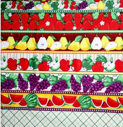 Tecido Tricoline Estampa de Barrados Frutas Tropicais - Preço de 50 cm X 146 cm