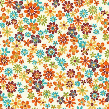 Tecido Tricoline Floral - Fundo Creme - Coleção Cocoricó - Preço de 50 cm x 150 cm