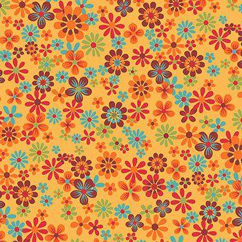 Tecido Tricoline Floral - Fundo Amarelo - Coleção Cocoricó - Preço de 50 cm x 150 cm