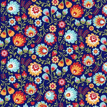Tecido Tricoline Floral - Fundo Marinho - Coleção Matrioska - 50 cm x 150 cm