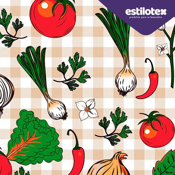 Tecido Tricoline Vegetais - Preço de 50 cm x 150 cm