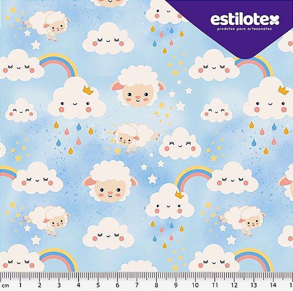 Tecido Tricoline  Estampa de Nuvens, Ovelhinhas Brancas e Arco Íris - Fundo Azul Bebê - 50cm x 150cm