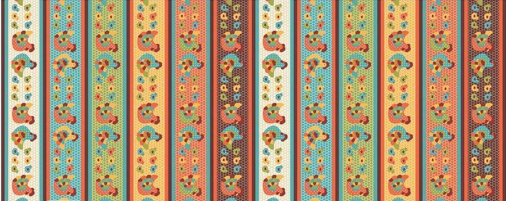 Tecido Tricoline Barrados - Coleção Cocoricó - Preço de 50 cm x 150 cm