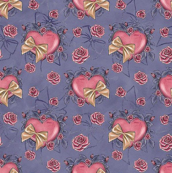 Tecido Tricoline Digital Coração e Laço - Fundo Azul Antigo - Coleção Valentine - Preço de 50cm x 150cm