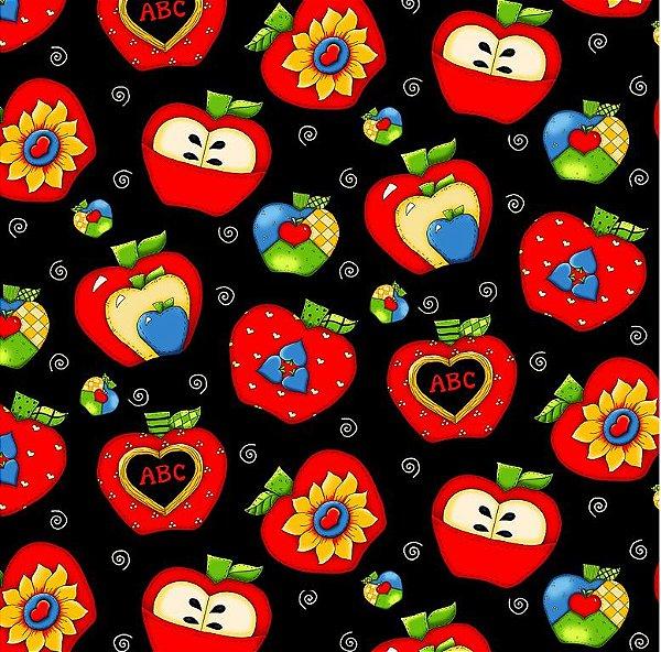 Tecido Tricoline Digital ABC Apple - Fundo Preto - Coleção Apple Lovers - Preço de 50cm x 150cm