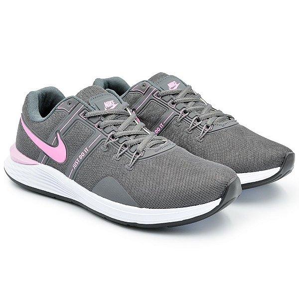 Tênis Feminino Caminhada Esportivo Nike Just do It - Grafite/Rosa