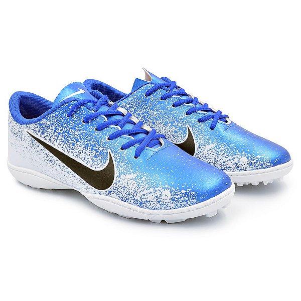 Chuteira Society Nike Mercurial Vapor 12 Academy - Branco/Azul