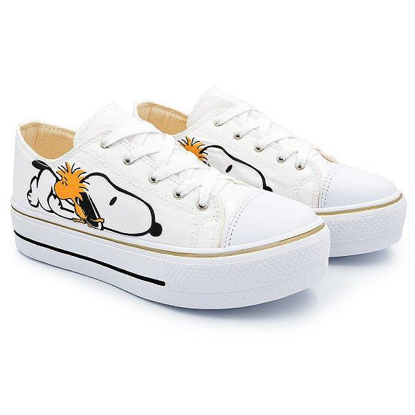 Tênis Feminino Plataforma Snoopy Dog - Branco