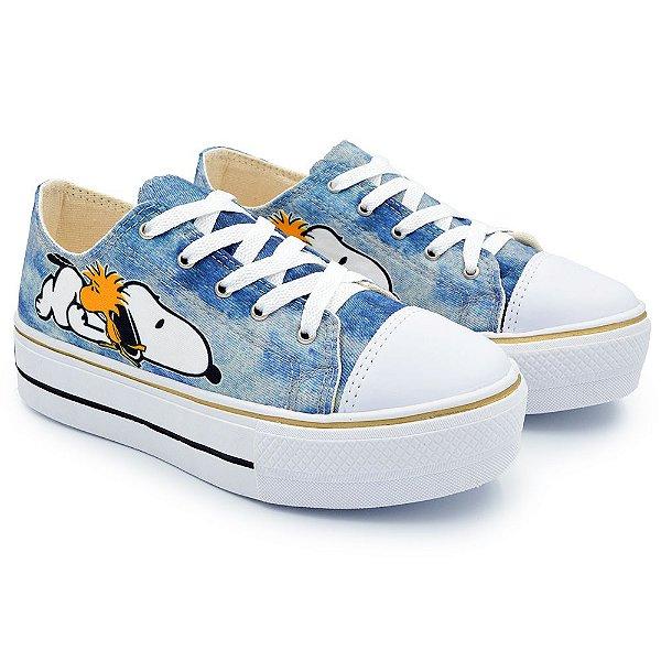 Tênis Feminino Plataforma Snoopy Dog - Jeans