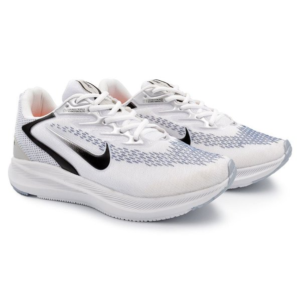Tênis Masculino Caminhada Esportivo Nike Zoom Winflo 7- Branco/Preto
