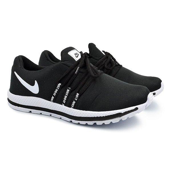 Tênis Masculino Caminhada Esportivo Nike Confort - Preto/Branco