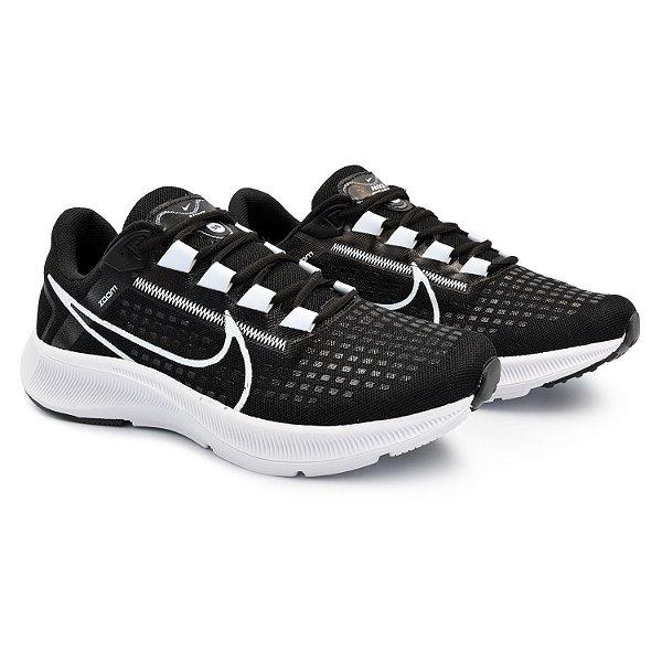 Tênis Masculino Caminhada Esportivo Nike Air Zoom Pegasus 38 - Preto/Branco