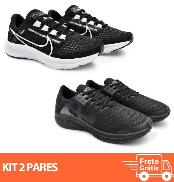 Kit 2 Pares - Tênis Nike Pegasus 38 Preto/Branco + Dynamic Preto