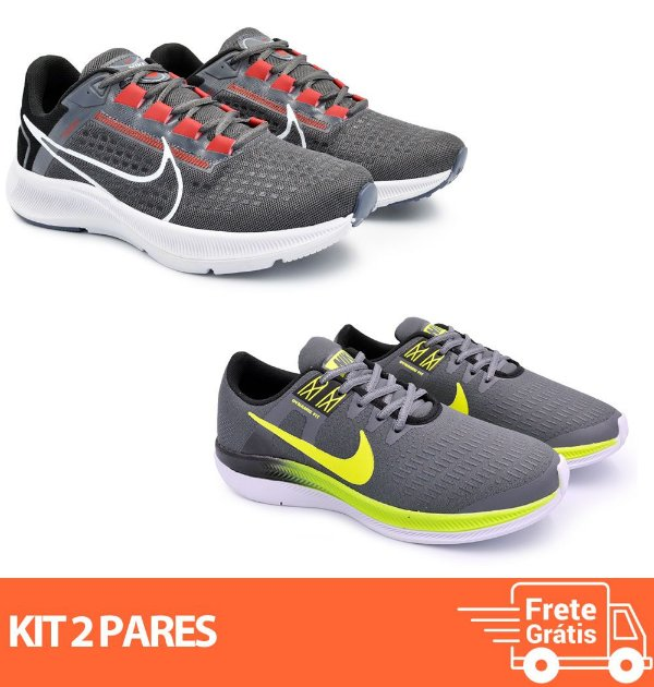 Kit 2 Pares - Tênis Nike Pegasus 38 Grafite + Dynamic Grafite/verde