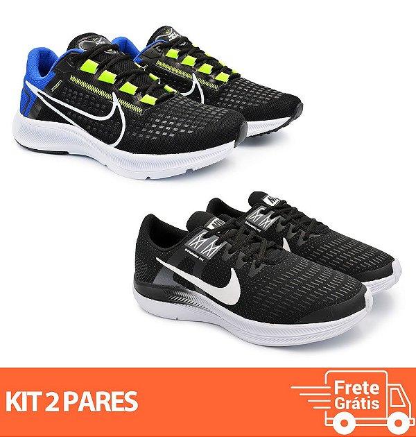 Kit 2 Pares - Tênis Nike Pegasus 38 Preto/Azul + Dynamic Preto/Branco