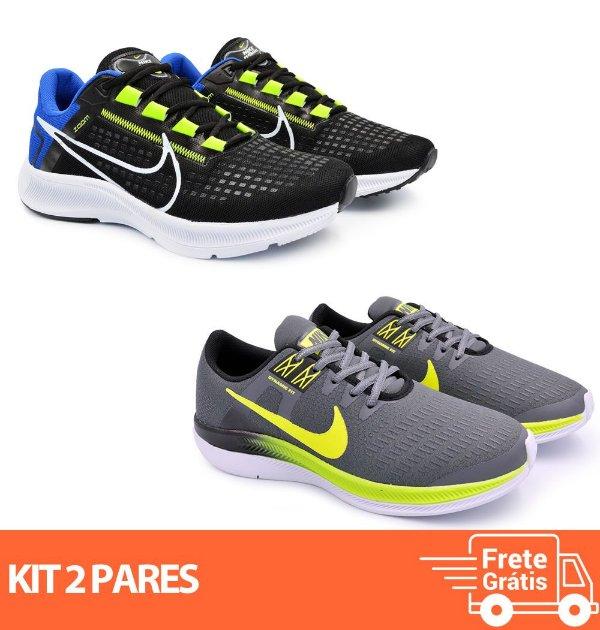 Kit 2 Pares - Tênis Nike Pegasus 38 Preto/Azul + Dynamic Grafite/Verde