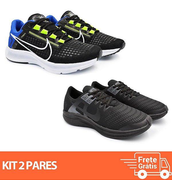 Kit 2 Pares - Tênis Nike Pegasus 38 Preto/Azul + Dynamic Preto