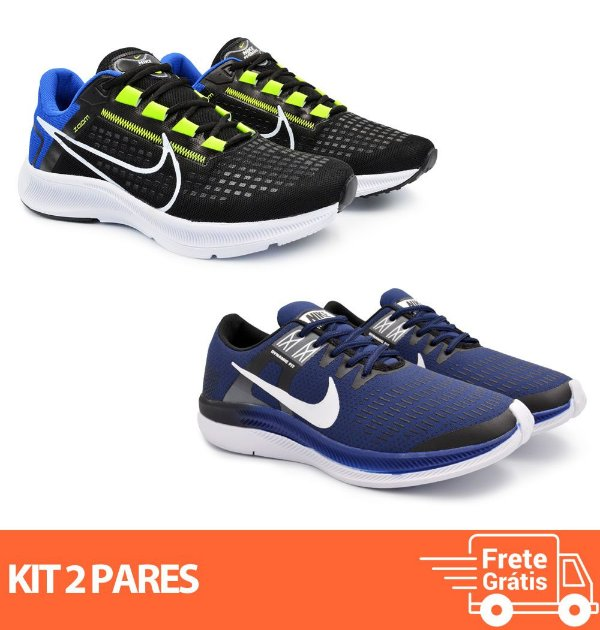 Kit 2 Pares - Tênis Nike Pegasus 38 Preto/Azul + Dynamic Marinho