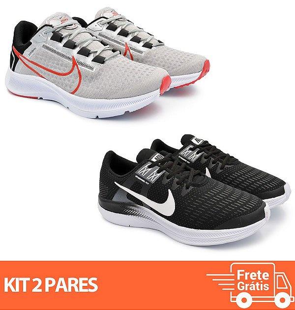 Kit 2 Pares - Tênis Nike Pegasus 38 Cinza + Dynamic Preto/Branco
