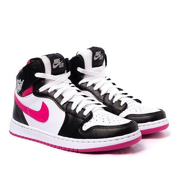 Tênis Cano Alto Feminino Nike Air Jordan 1 MID - Branco/Rosa