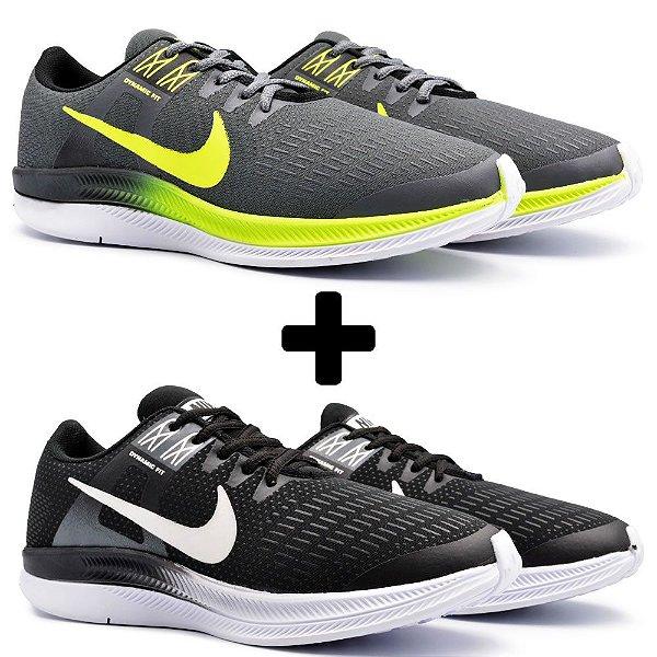 Combo 2 Pares - Tênis Nike Air Zoom Dynamic Grafite + Preto/Branco