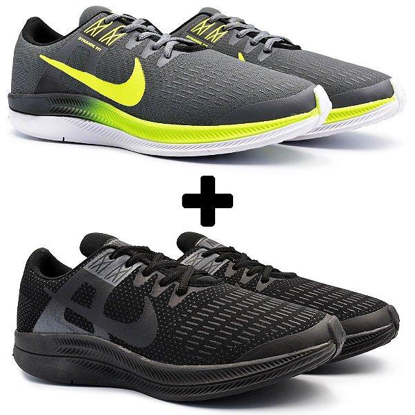 Combo 2 Pares - Tênis Nike Air Zoom Dynamic Grafite + Preto
