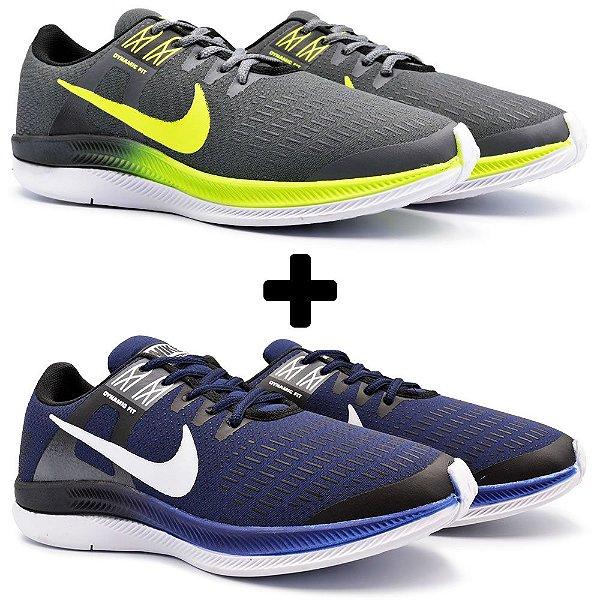Combo 2 Pares - Tênis Nike Air Zoom Dynamic Grafite + Marinho/Branco