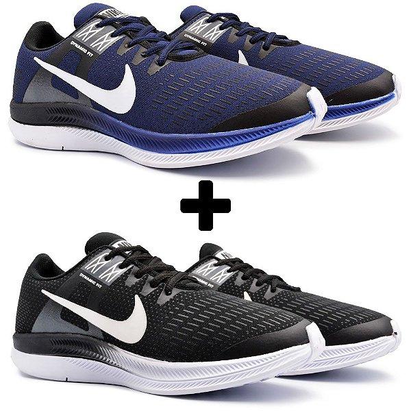 Combo 2 Pares - Tênis Nike Air Zoom Dynamic Marinho + Preto/Branco