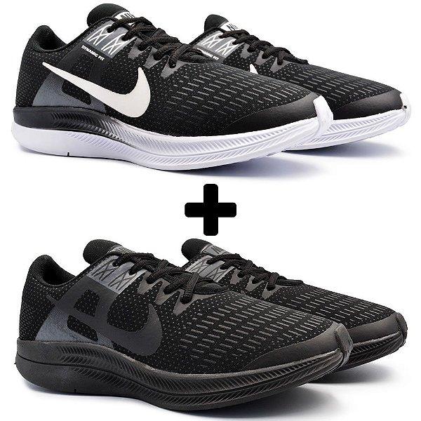 Combo 2 Pares - Tênis Nike Air Zoom Dynamic Preto/Branco + Preto