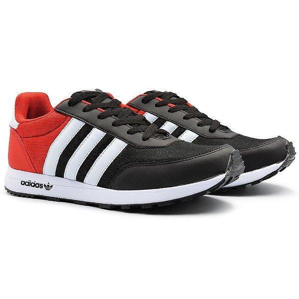 Tênis Masculino Adidas New Racer 2 - Preto/Vermelho