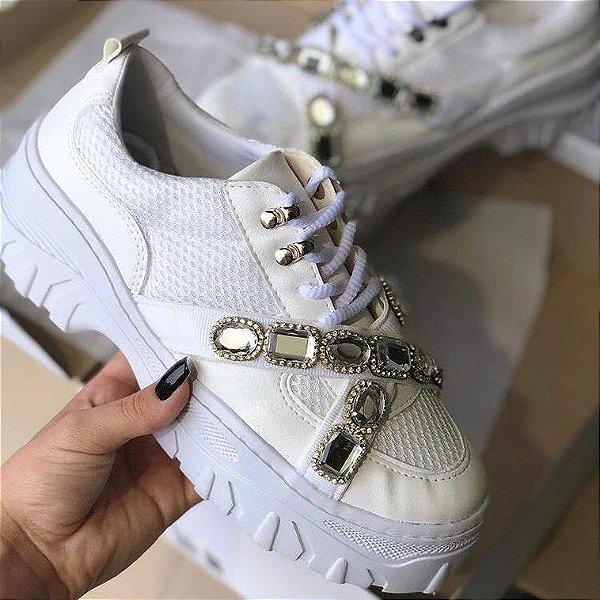 Tênis Feminino Plataforma Sneakers Chunky Kasual Pedraria