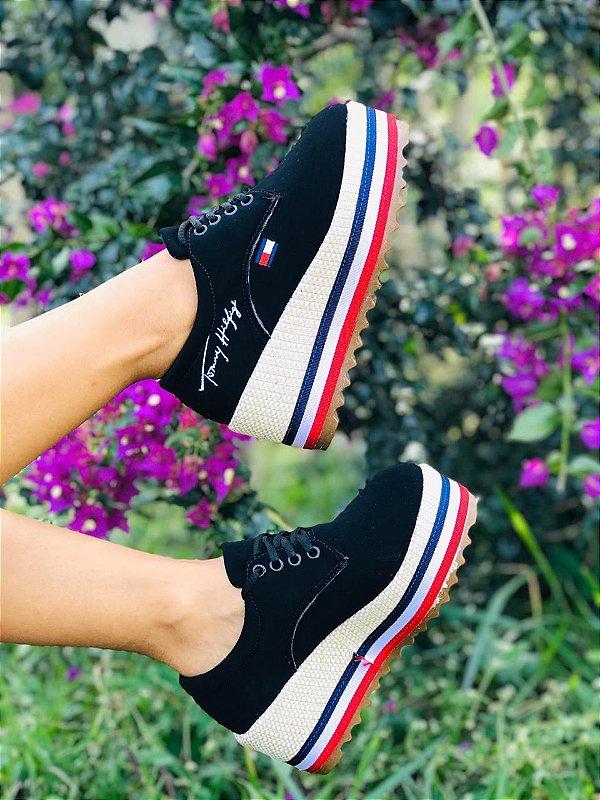 Tênis Feminino Salto Alto Anabela Tommy Hilfiger Plataforma Platform Sneakers Lançamento 2020