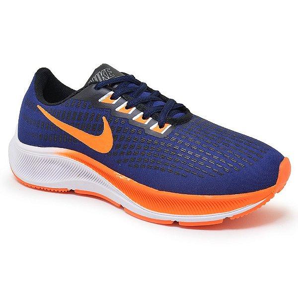 Tênis Masculino Caminhada Esportivo Nike Air Zoom Pegasus 37 - Azul Marinho/Laranja